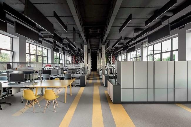 piso vinilico cinza e amarelo