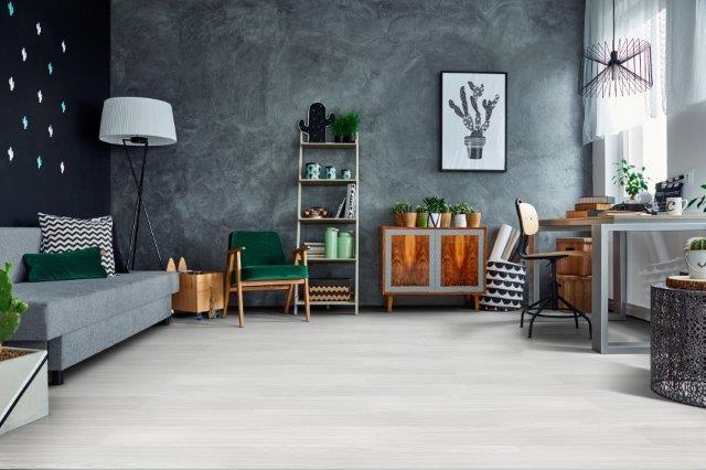 quarto cinza com piso vinilico branco