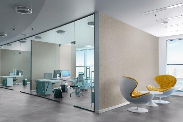 escritório moderno com piso vinilico cinza