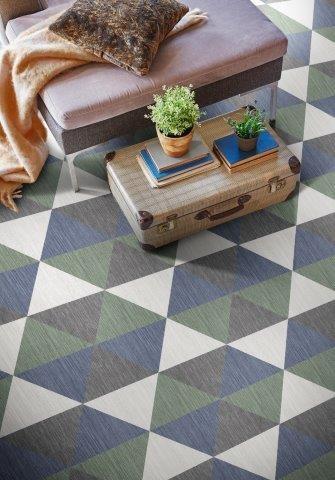 piso vinilico com formatos geometricos