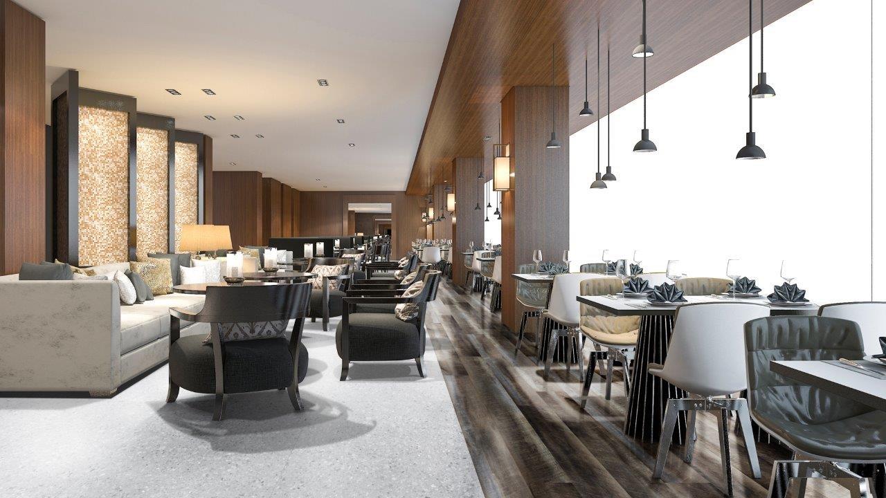 restaurante moderno com piso vinilico marrom