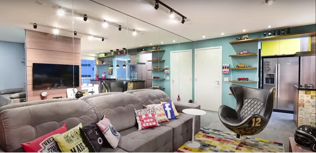 dicas-decorar-sala-piso-vinílico-cimento-queimado-projeto-contemporâneo