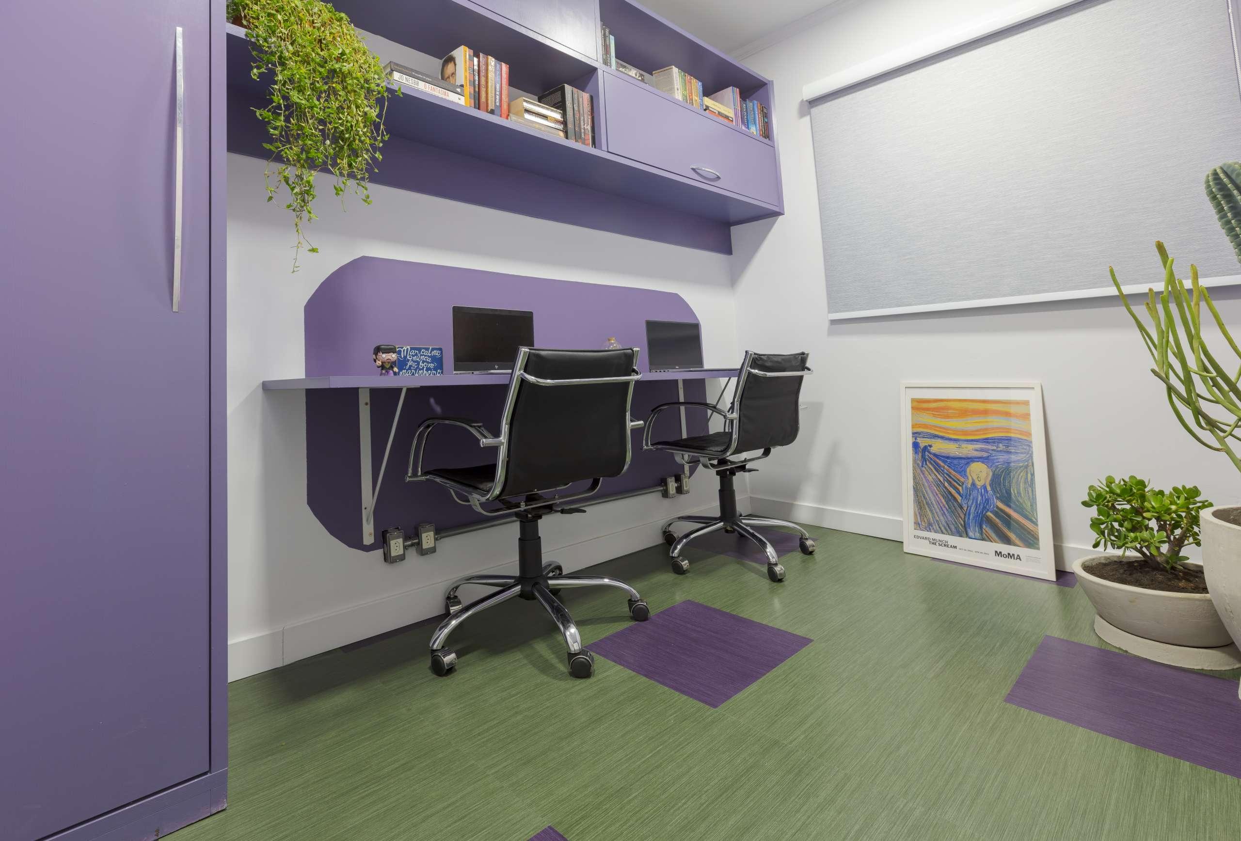 Home office decorado com pisos vinilicosm pisos v