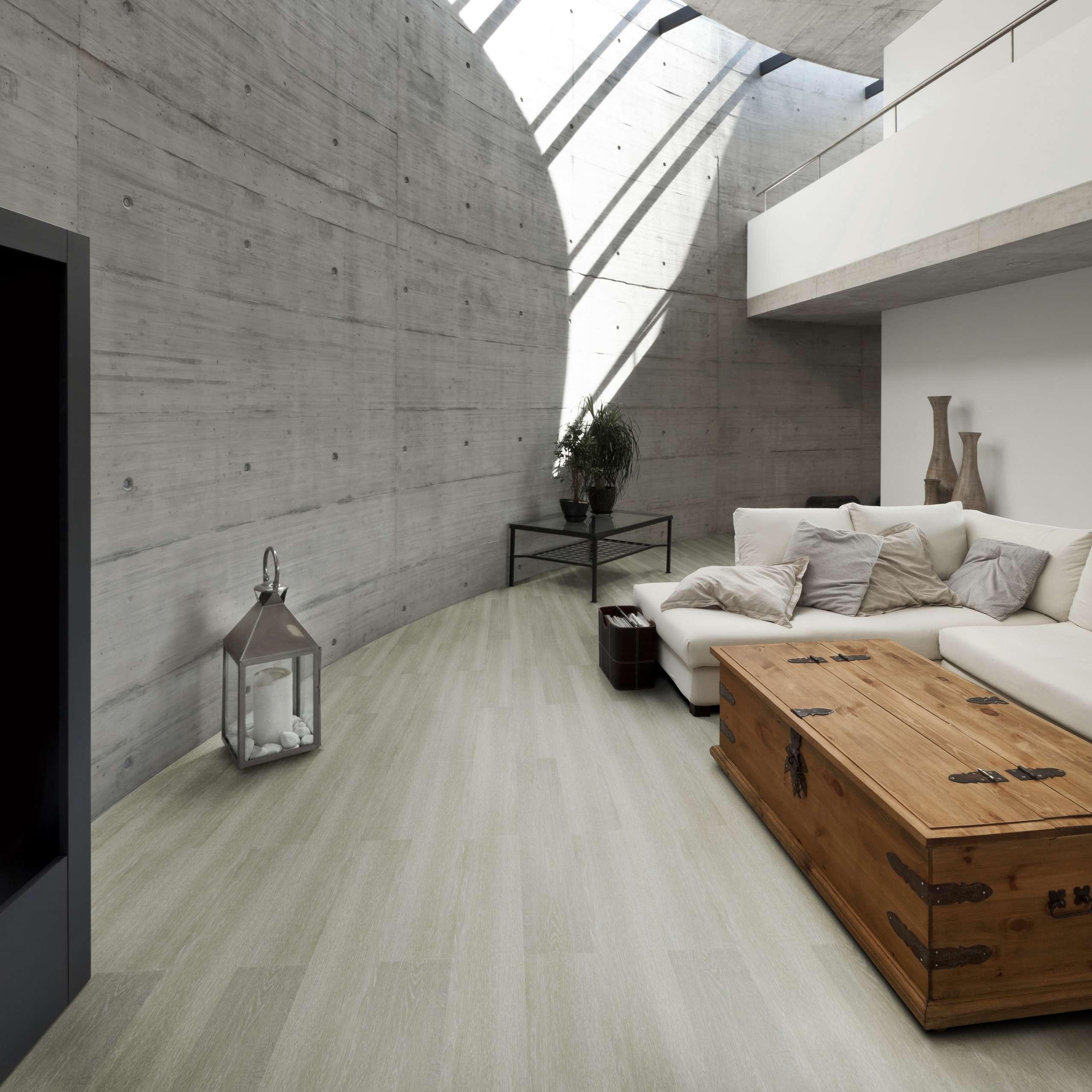 Piso vinílico Tarkett Ambienta Series Aveia em sala de estar rústica